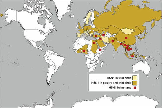 Nations with confirmed cases of H5N1 avian influenza