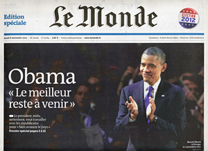 President Obama on cover of Le Monde newspaper, Paris, France