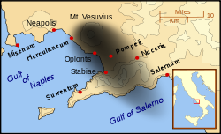Mount Vesuvius eruption map